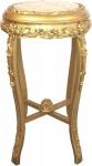 Casa Padrino Barock Beistelltisch mit Marmorplatte Gold / Creme Ø 45 x H. 71, 5 cm - Runder handgeschnitzter Antik Stil Telefontisch Blumentisch mit wunderschönen Verzierungen