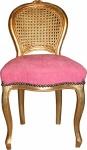 Casa Padrino Barock Damen Stuhl Rosa / Gold Schminkstuhl