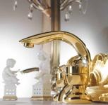 Luxus Bad Zubehör - Jugendstil Retro Waschtisch Armatur Einlochbatterie Gold Serie Cristallo - Made in Italy