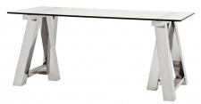 Casa Padrino Designer Schreibtisch Silber 180 x 80 x H. 78 cm - Luxus Büromöbel