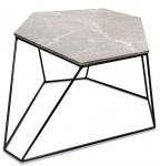Casa Padrino Designer Couchtisch Grau / Schwarz 75 x 58 x H. 35 cm - Luxus Wohnzimmertisch mit Marmorplatte