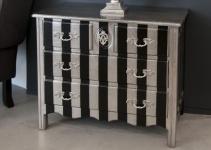 Casa Padrino Barock Kommode Silber / Schwarz Streifen 94cm - Antik Stil Möbel
