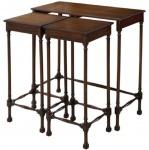 Casa Padrino Luxus Mahagoni Beistelltisch Set Dunkelbraun 67 x 28 x H. 70 cm - Luxus Möbel