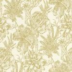 Casa Padrino Luxus Papiertapete Matt Creme / Gold - 10, 05 x 0, 53 m - Tapete mit Blumen Design