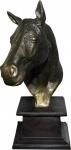 Casa Padrino Luxus Statue Pferd Figur auf Holzsockel Antik Gold/Braun H 39 cm - Tier Skulptur
