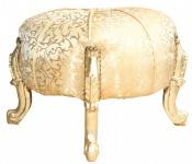 Casa Padrino Barock Sitzhocker- Rundhocker- Gold Muster/ Gold- Barock Möbel