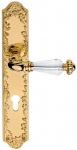 Casa Padrino Luxus Barock Türgriff mit Platte und Swarovski Kristallglas Gold 13, 7 x H. 30 cm - Erstklassische Qualität Made in Italy