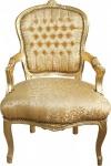 Casa Padrino Barock Salon Stuhl Gold Muster / Gold Mod1 - Antik Look