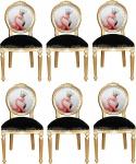 Casa Padrino Luxus Barock Esszimmer Set Flamingo mit Krone Gold / Schwarz / Mehrfarbig 48 x 50 x H. 98 cm - 6 handgefertigte Esszimmerstühle mit Bling Bling Glitzersteinen - Barock Esszimmermöbel