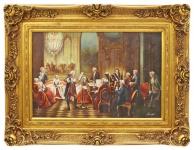 Casa Padrino Barockstil Öl Gemälde Konzert II Gold Prunk Rahmen 130 x H. 100 cm - Barock Gemälde