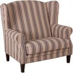 Casa Padrino Luxus Ohrensessel 1 1/2 Sitzer Creme Streifen - Sessel Möbel Hotel & Lounge Einrichtung