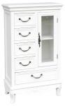 Casa Padrino Landhausstil Schrank mit Tür und 5 Schubladen Weiß 50 x 30 x H. 92 cm - Handgefertigter kleiner Wohnzimmerschrank im Landhausstil