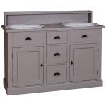 Casa Padrino Landhaus Stil Waschschrank Waschtisch inkl 2 Waschbecken mit Schubladen und Schranktüren - Bad Schrank Massivholz