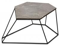 Casa Padrino Designer Couchtisch Grau mit Muster / Schwarz 75 x 58 x H. 35 cm - Luxus Wohnzimmertisch mit Marmorplatte