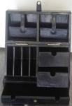 Casa Padrino Luxus Echtleder Büro Box Schwarz 40 x 26 x H. 43 cm - Luxus Kollektion
