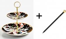 Harald Glööckler Porzellan Etagere 2-stöckig Art + Luxus Bleistift von Casa Padrino im Kronendesign - Barock Dekoration
