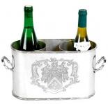 Massiver Luxus Tisch Weinflaschen Halter Weinkühler Coat of Arms für 2 Weinflaschen Nickel Finish - Casa Padrino Luxury Collection - vernickelt H 18 cm B 28 cm T 12.5 cm Weinständer Weinflaschenkühler Weinflaschenhalter