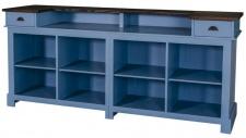 Casa Padrino Landhausstil Thekenschrank Blau / Schwarz 220 x 65 x H. 107 cm - Ladentheke im Landhausstil