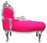 Casa Padrino Barock Kinder Chaiselongue Pink/Silber Mod2 - Barock Möbel