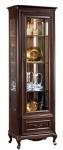 Casa Padrino Luxus Jugendstil Vitrinenschrank Dunkelbraun 66, 2 x 46, 1 x H. 206, 6 cm - Beleuchteter Wohnzimmerschrank mit Glastür und Schublade - Wohnzimmermöbel