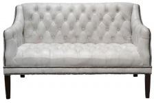 Casa Padrino Luxus Echtleder 2er Sofa Vintage Weiß / Schwarz 135 x 79 x H. 84 cm - Chesterfield Wohnzimmermöbel