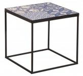 Casa Padrino Designer Beistelltisch mit Keramikplatte Schwarz / Blau / Weiss 40cm - Wohnzimmermöbel mit Mosaikmuster