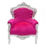Casa Padrino Barock Sessel King Pink / Silber Möbel Antik Stil
