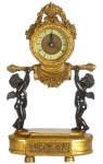 Casa Padrino Barock Tischuhr Engel Gold / Schwarz 23 x 14 x H. 37 cm - Deko Uhr im Barockstil