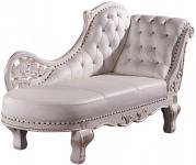 Casa Padrino Barock Chaiselongue Antik Weiß / Echt Leder Chaise Lonque