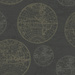 Casa Padrino Luxus Papiertapete Weltkugeln Anthrazit - 10, 05 x 0, 53 m - Edle Mustertapete