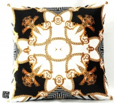 Casa Padrino Luxus Barock Kissen Paris Schwarz / Weiß / Gold 45 x 45 cm - Feinster Samtstoff - Wohnzimmer Deko Accessoires