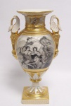Casa Padrino Luxus Porzellan Vase mit 2 Griffen H. 32, 5 cm - Barock Vase