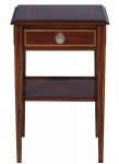 Casa Padrino Luxus Jugendstil Mahagoni Holz Wohnzimmer Beistelltisch mit Schublade Dunkelbraun / Gold 40 x 40 x H. 61 cm - Luxus Qualität