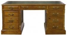 Casa Padrino Luxus Schreibtisch mit Tür und 6 Schubladen Braun / Grün 160 x 80 x H. 79 cm - Büromöbel