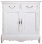 Casa Padrino Landhausstil Kommode mit 2 Türen und 2 Schubladen Antik Weiß 75 x 32 x H. 81 cm - Shabby Chic Möbel