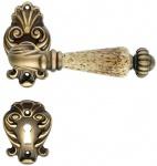 Casa Padrino Barock Türklinken Set Messing Patiniert 14 x H. 8, 2 cm - Barockstil Türgriff Set mit Edel Porzellan Griff