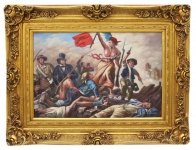 Casa Padrino Barock Öl Gemälde Die Schlacht Gold Prunk Rahmen 130 x H. 100 cm - Möbel im Barockstil