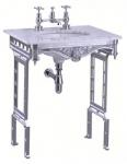 Casa Padrino Luxus Jugendstil Stand Waschtisch Weiß / Aluminium mit Marmorplatte - Barock Waschbecken Barockstil Antik Stil