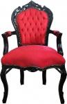 Casa Padrino Barock Esszimmer Stuhl Rot / Schwarz mit Armlehnen - Limited Edition