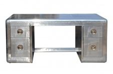 Casa Padrino Art Deco Flieger Schreibtisch - Aluminium Tisch