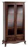 Casa Padrino Luxus Jugendstil Vitrinenschrank Dunkelbraun 116, 8 x 46, 1 x H. 206, 6 cm - Wohnzimmerschrank mit 2 Glastüren und 2 Schubladen - Wohnzimmermöbel