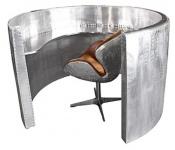 Casa Padrino Luxus Aluminium Theke / Epfangstheke Silber Ø 161 x H. 100 cm - Runder Rezeptionstisch