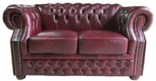 Casa Padrino Luxus Echtleder 2er Sofa Dunkelrot 180 x 90 x H. 80 cm - Chesterfield Möbel