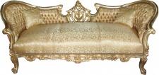 "Casa Padrino Barock Sofa Garnitur "" Vampire"" Gold Muster Satin - Antik Design - UNIKAT"