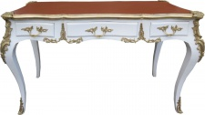 Casa Padrino Luxus Barock Schreibtisch Weiss / Gold / Apricot - Sekretär Luxus Möbel - Limited Edition