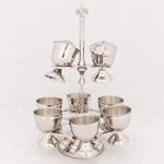 Casa Padrino Luxus Eierbecher Set mit Salz und Pfeffer Streuer Messing vernickelt Antik Stil