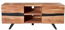 Casa Padrino Designer Sideboard Natur B.160 x H.65 x T.43 - Fernsehschrank - Kommode - Handgefertigt aus massivem Akazienholz!