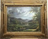 Handgemaltes Barock Öl Gemälde Landschaft IV Gold Prunk Rahmen 55 x 45 cm