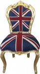 Casa Padrino Barock Esszimmer Stuhl Union Jack / Gold - Möbel Antik Stil