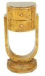 Casa Padrino Art Deco Schubladen Schrank Vogelaugenahorn - Handgefertigt aus Massivholz - Nachtschrank Nachttisch Kommode